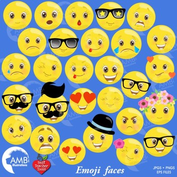 Emoji Clipart, Emoticons Clipart, Smiley Face, Feelings Clipart, AMB.