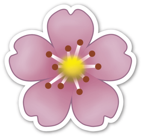 Purple Flower Emoji transparent PNG.