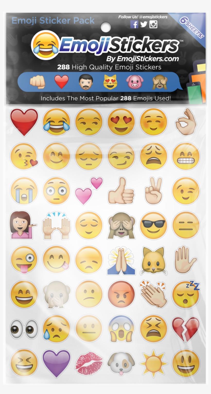 Emoji Sticker Pack 6 Sheets Of The Most Popular Emojis.