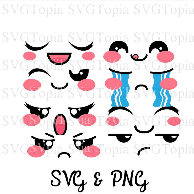 8 Emoji Emoticon Kawaii Faces SVG and PNG Clip Art for Die Cut like Cricut  and Silhouette Cuttable File.