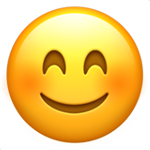 smiling face with smiling eyes.