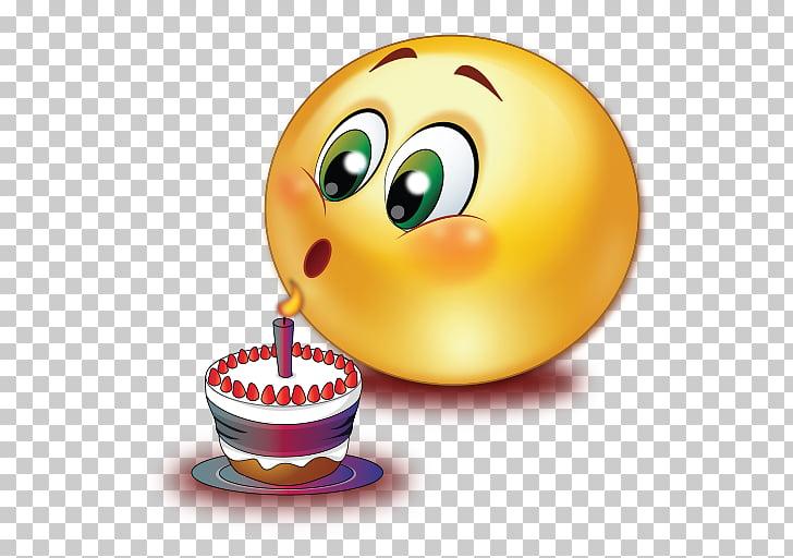 Emoticon de pastel de cumpleaños sonriente, soplando velas.