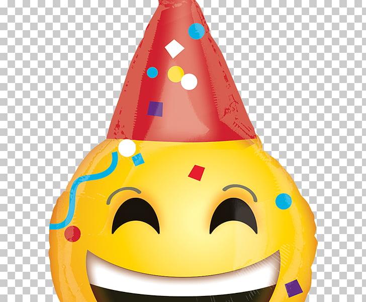Emoticon de cumpleaños de fiesta emoji con globo, globo PNG.