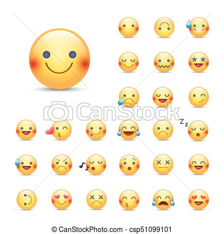 Smileys vector icon set. Emoticons pack. Happy, merry, singing, sleeping,  ninja, crying, in love and other round yellow face. Large collection of.