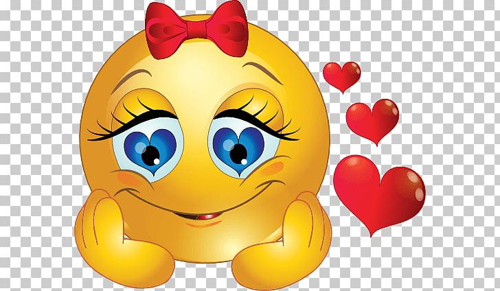 Emoji amarillo con corazones rojos y cinta, emoticon, ella.