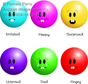 Clip Art Image of a Collection of Emotion Icons Showing Different.