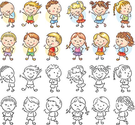 Set of Different Kids With Various Emotions premium clipart.