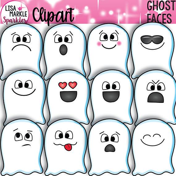 Emoji Clipart, Emotion Clipart, Halloween Clipart, Ghost.