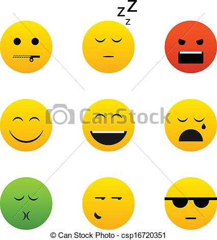 Collection of different emotion faces.