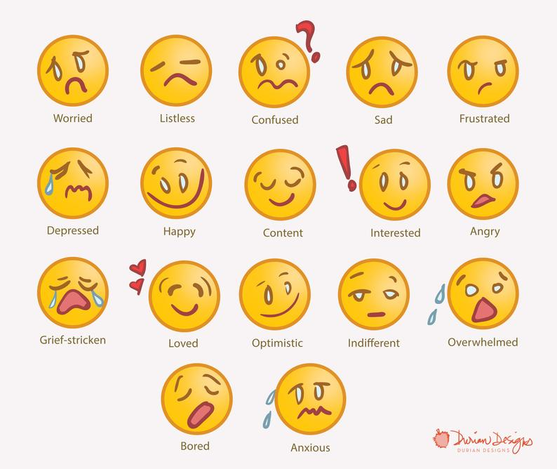 Emoji clipart commercial use yellow smiley faces clipart emotions social  media clip art expression cartoon drawing feelings instant download.