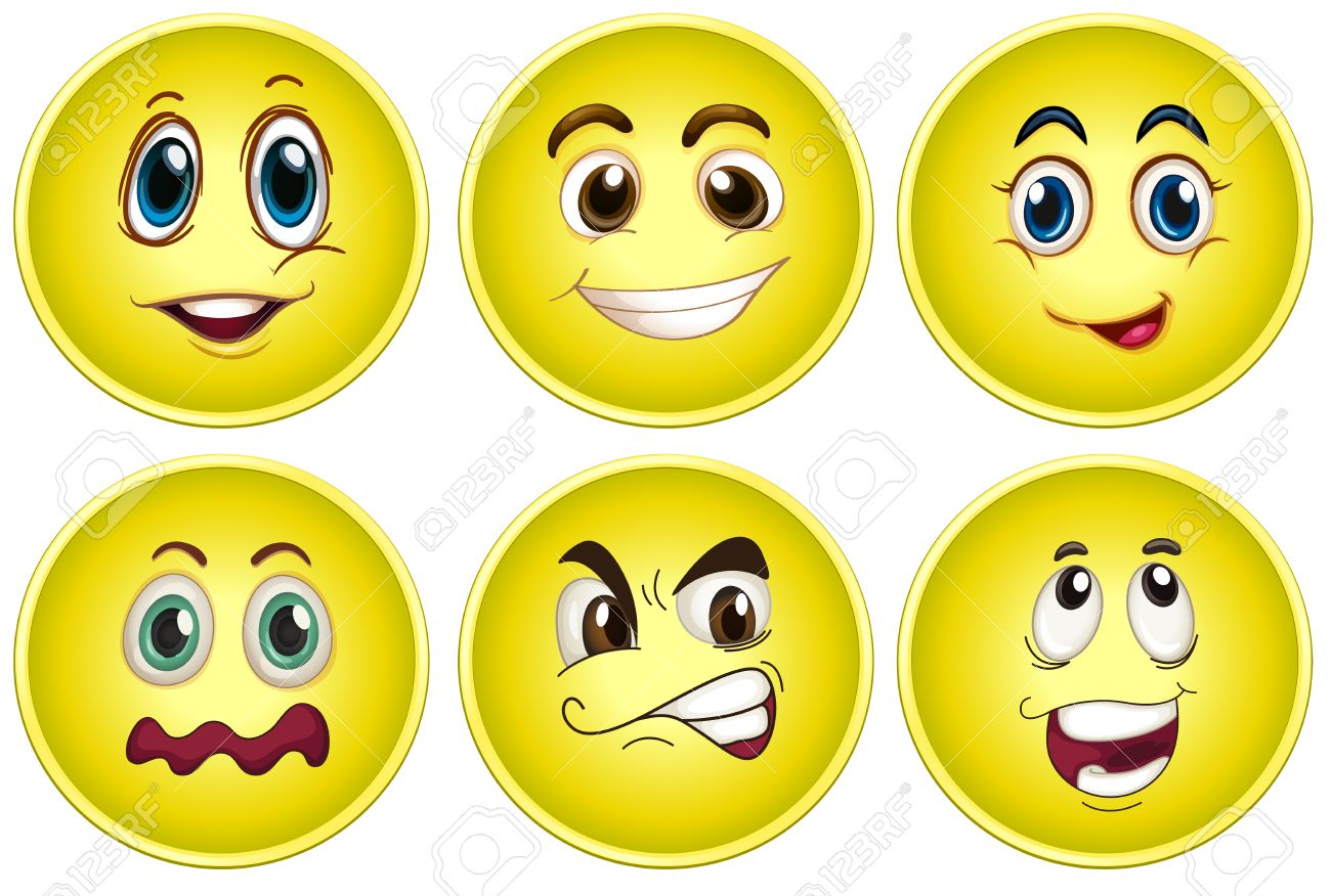 Illustration of yellow faces with different emotions.