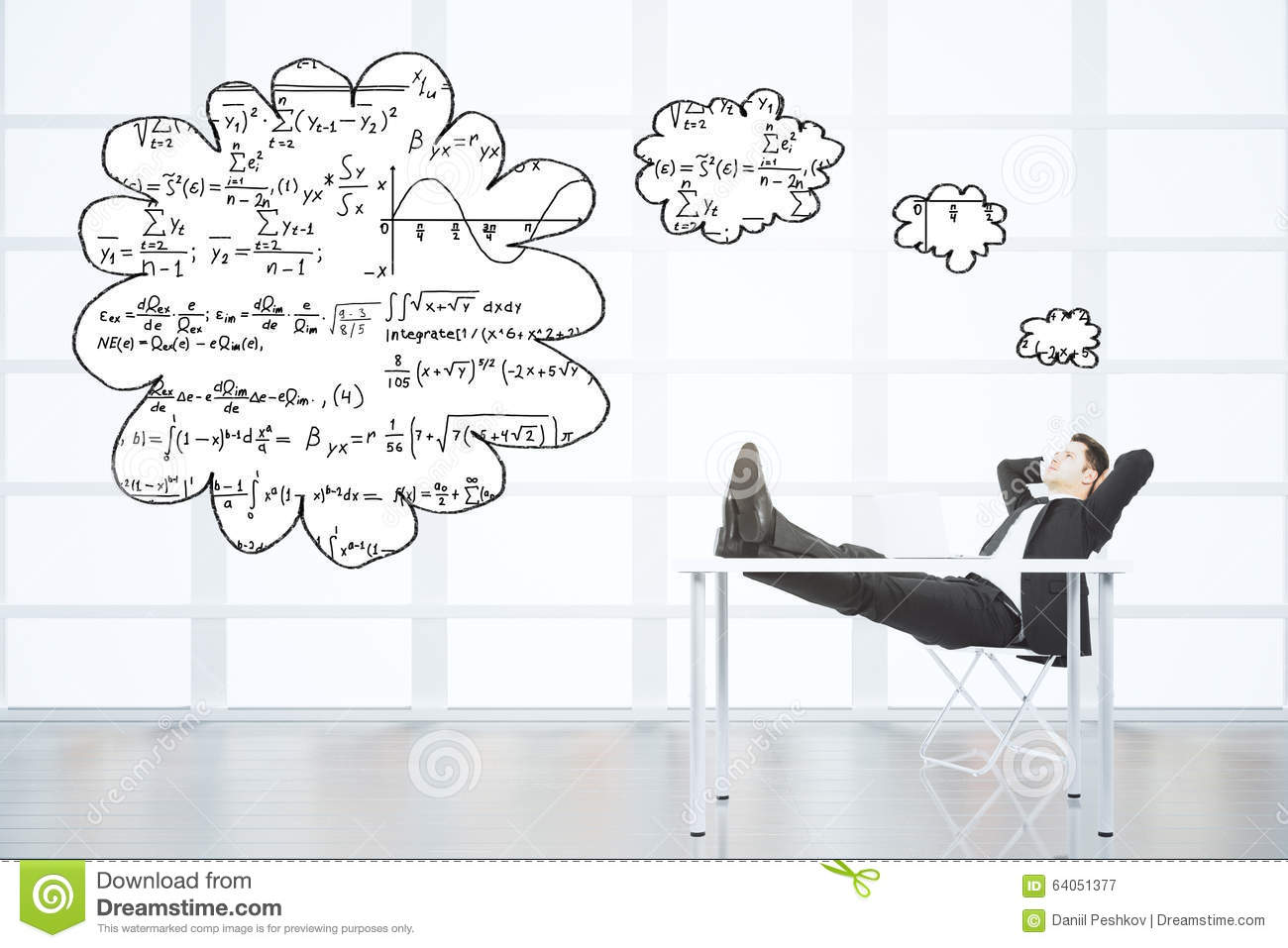 Man Sitting On The Chair Thinking About Equations In Emp Stock.