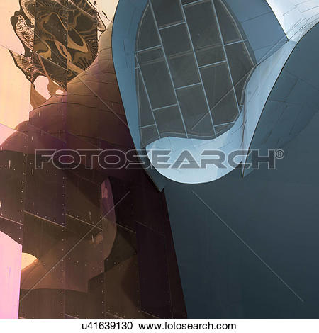 Stock Photography of Low angle view of EMP Museum, Seattle.
