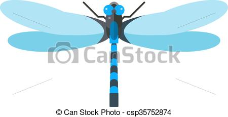 Vectors Illustration of Dragonfly anax imperator male blue emperor.