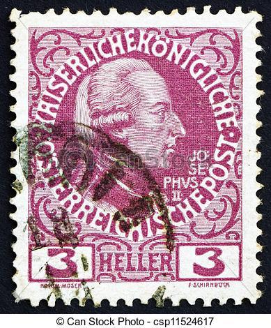 Stock Photography of Postage stamp Austria 1913 Joseph II, Emperor.