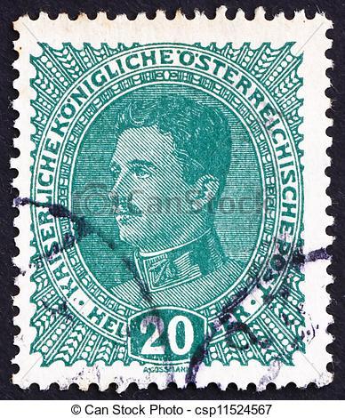 Stock Image of Postage stamp Austria 1918 Karl I, Emperor of.