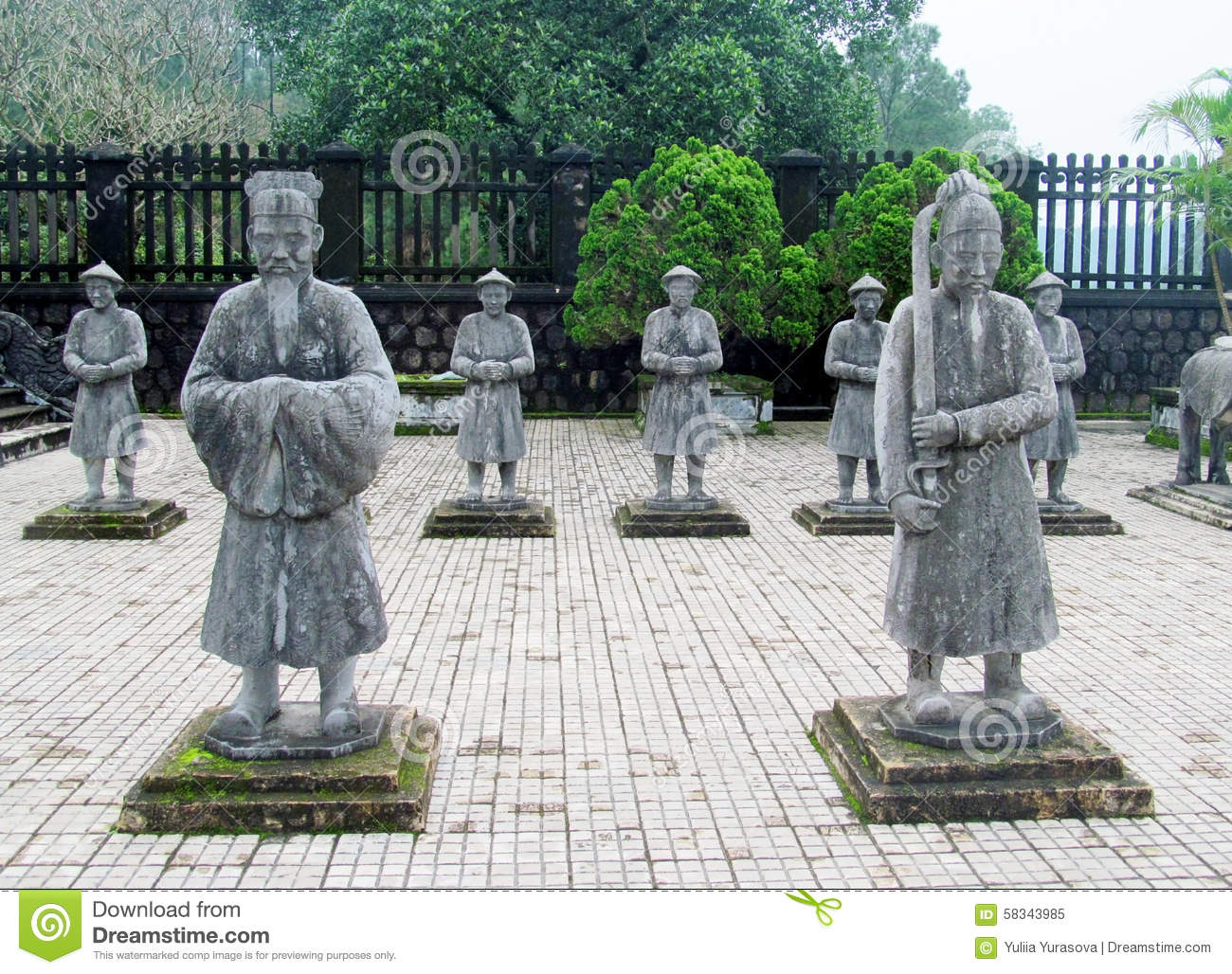 Guard Statues At Emperor Khai Dinh Tomb Stock Photo.