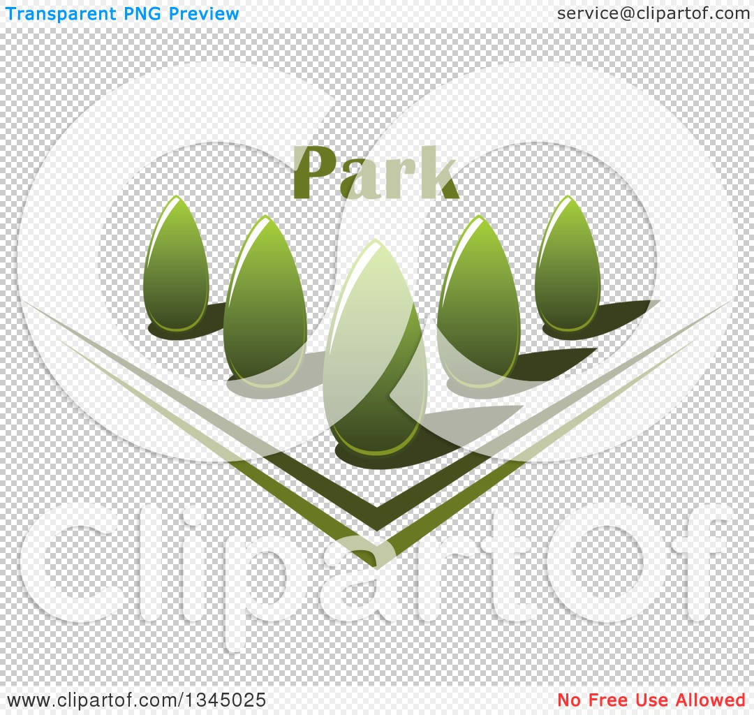 Clipart of a Park with Green Shrubs in a Garden with Text.