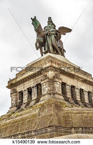 Stock Photograph of Monument to Kaiser Wilhelm I Emperor William.