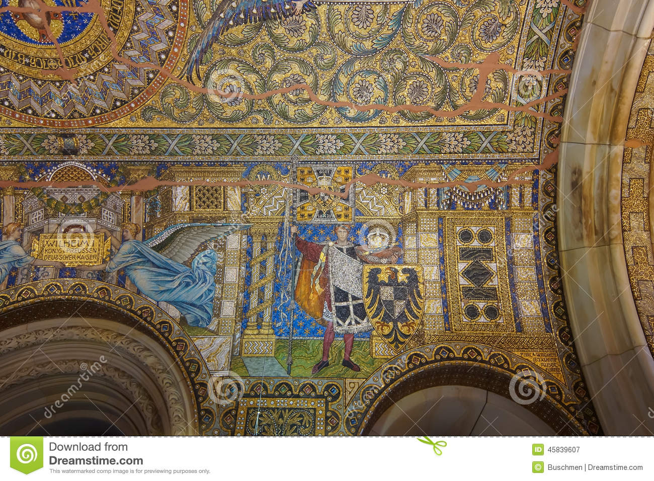 Mosaic Of Kaiser Wilhelm II Stock Photo.