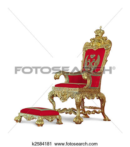 Stock Photography of Golden emperor's Throne. Isolated on white.