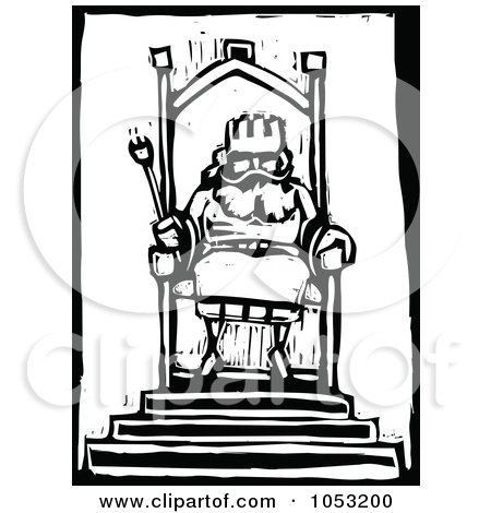 Clipart of an Emperor on His Throne Black and White Woodcut.
