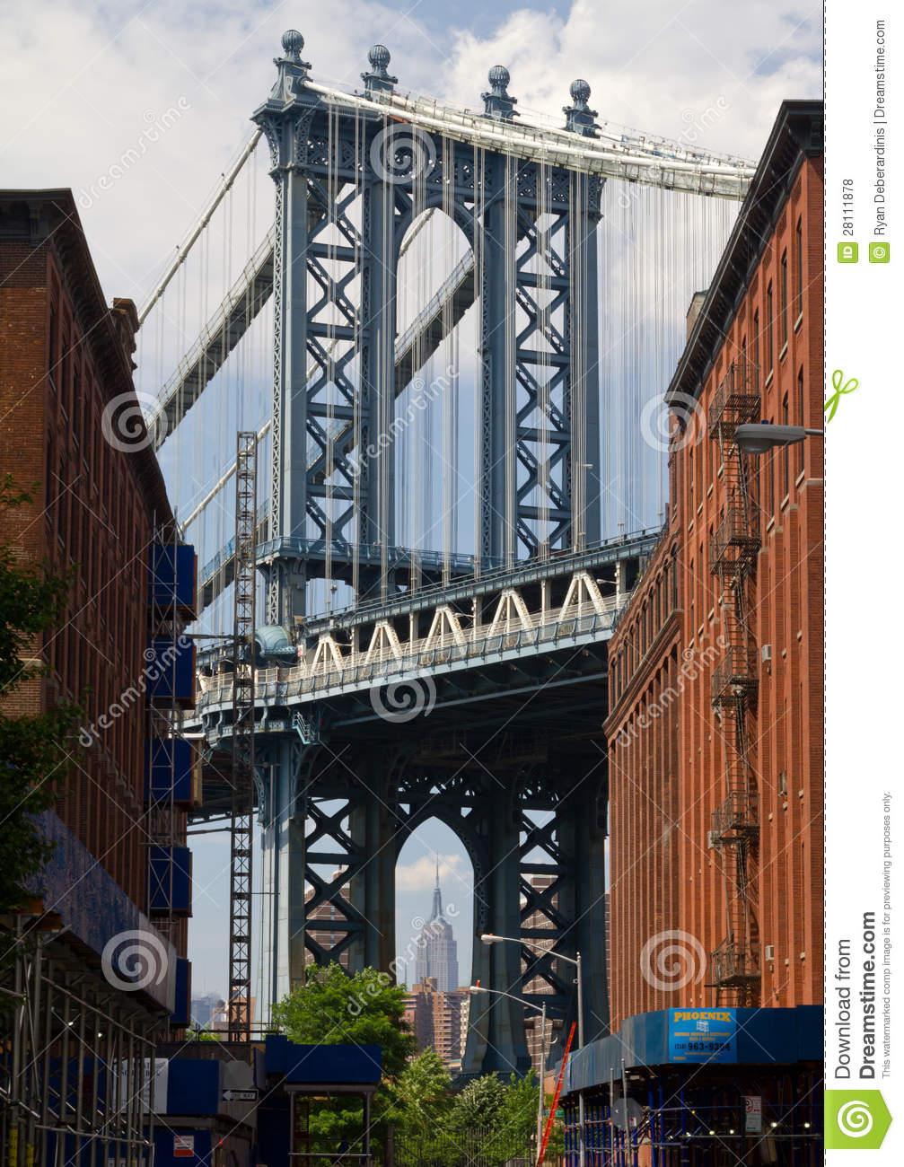 Williamsburg Bridge And The Empire State Building Editorial Stock.