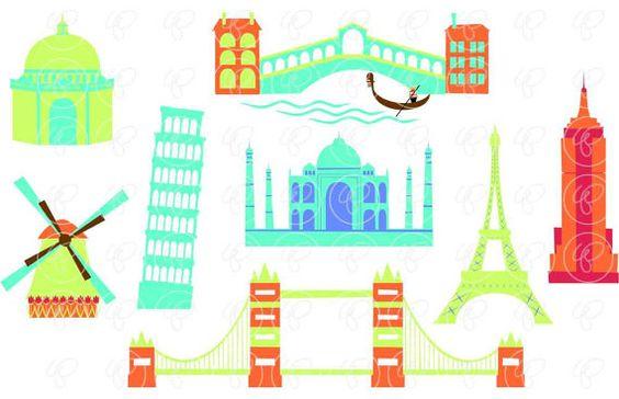 Let's Go Abroad World Landmark Digital Clip Art Set: Empire State.