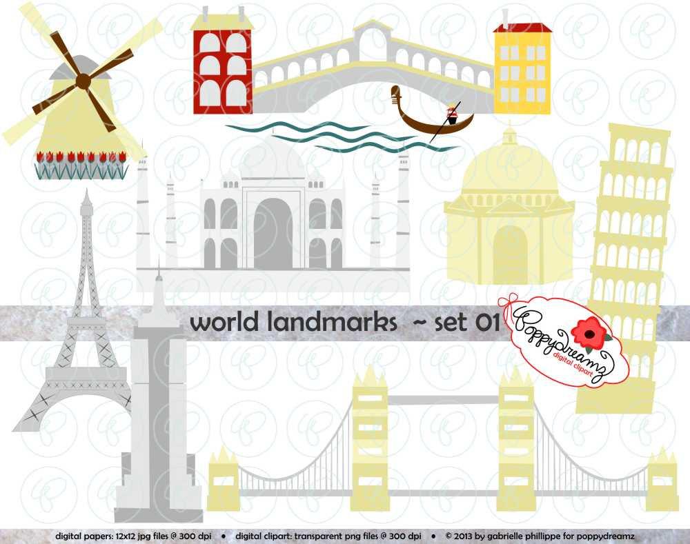 World Landmarks Set 01 Digital Clip Art Set: Empire by poppydreamz.