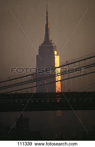 Stock Photograph of 1990S Empire State Building And Manhattan.