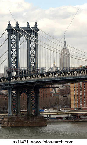 Stock Photography of View of Manhattan Bridge and Empire State.