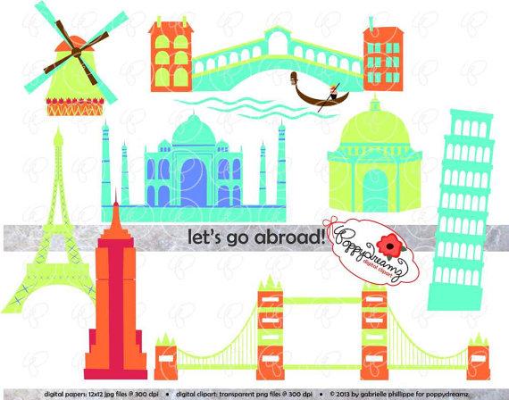 Let's Go Abroad World Landmark Digital Clip Art by poppydreamz.
