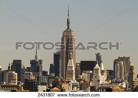Picture of Empire State Building, as seen from the Brooklyn Bridge.
