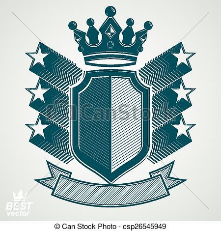 EPS Vector of Empire stylized vector graphic symbol. Shield with.