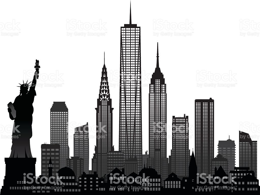 Image result for empire state building clipart black and.