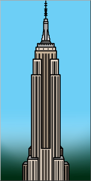 Clip Art: Empire State Building Color I abcteach.com.