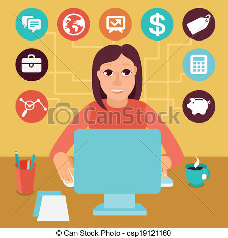 Clip Art Vector of Vector self employed woman in flat style.