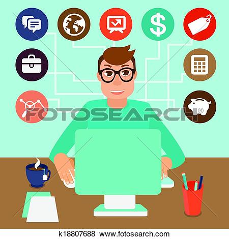 Clip Art of Vector self employed man in flat style k18807688.