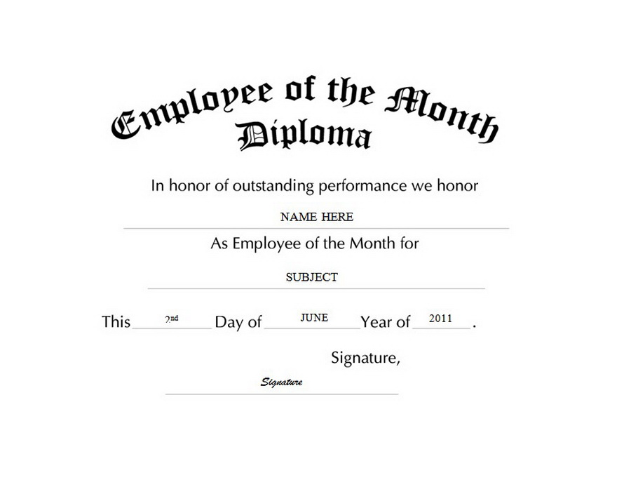 Employee of the Month Diploma Free Templates Clip Art & Wording.