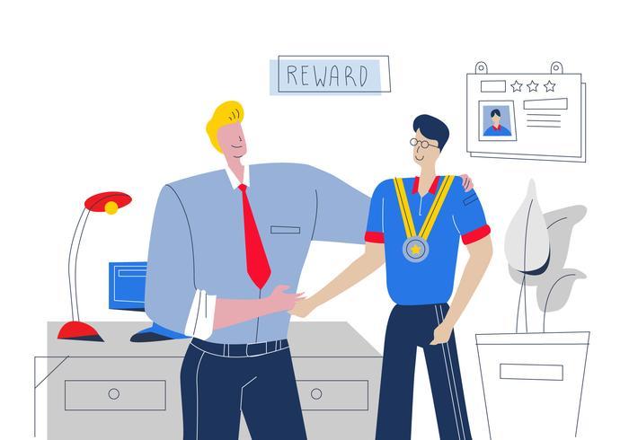 Good Boss Reward The Best Employee Vector Flat Illustration.