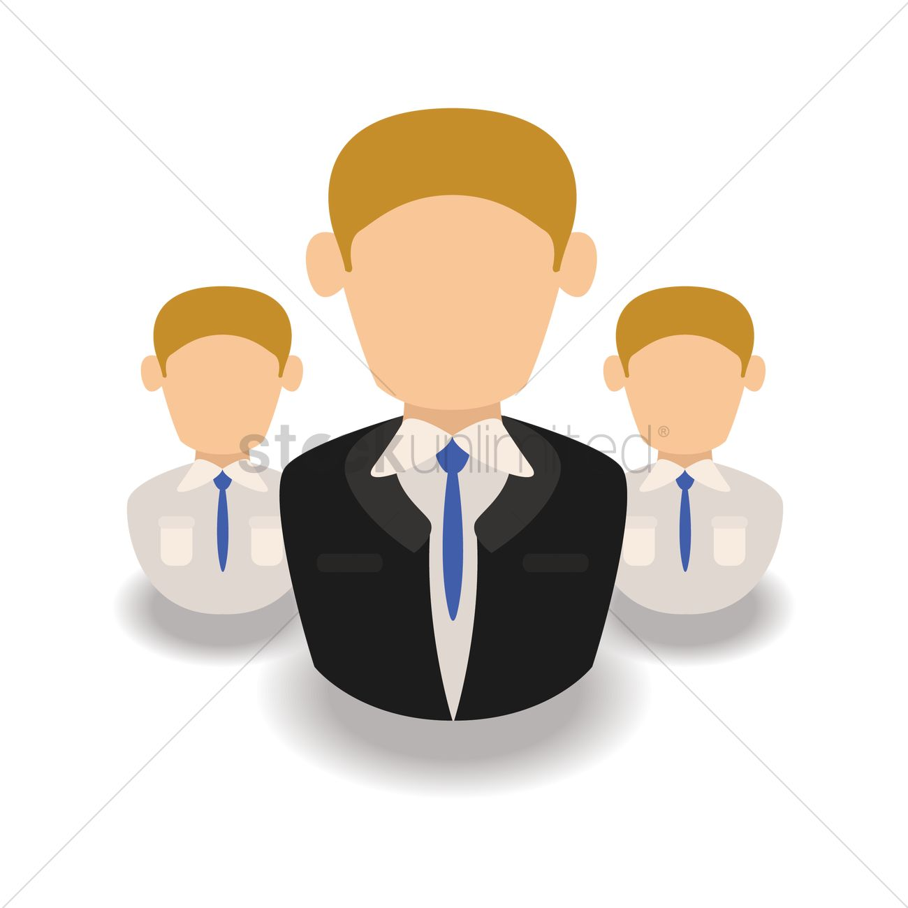 Businessman and employees Vector Image.
