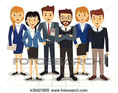 Business team of employees vector Clip Art.