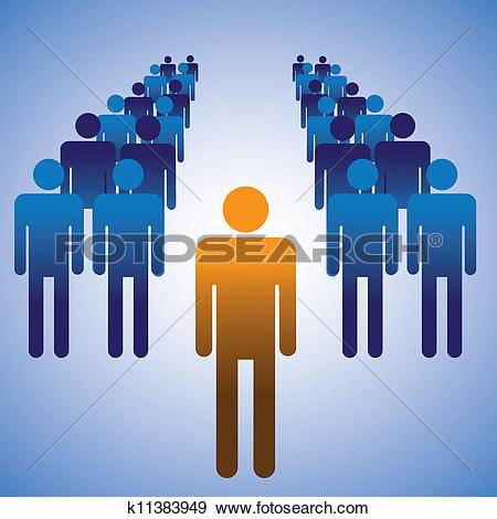 Clip Art of Concept illustration of employees and manager. The.