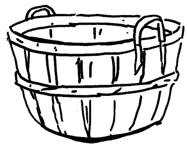 Empty Apple Basket Clipart Black And White.