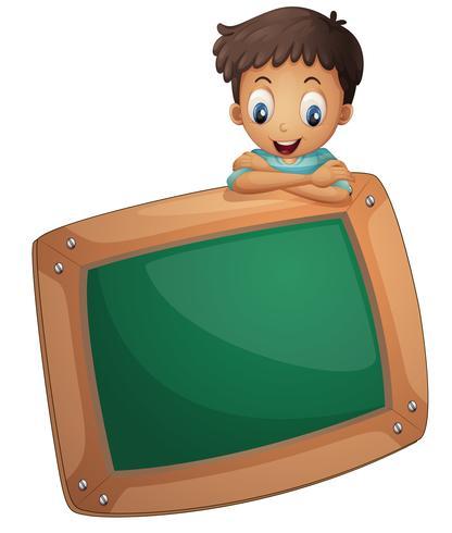 A boy holding an empty board.