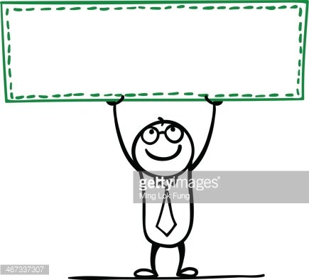 Cartoon man with an empty banner Clipart Image.