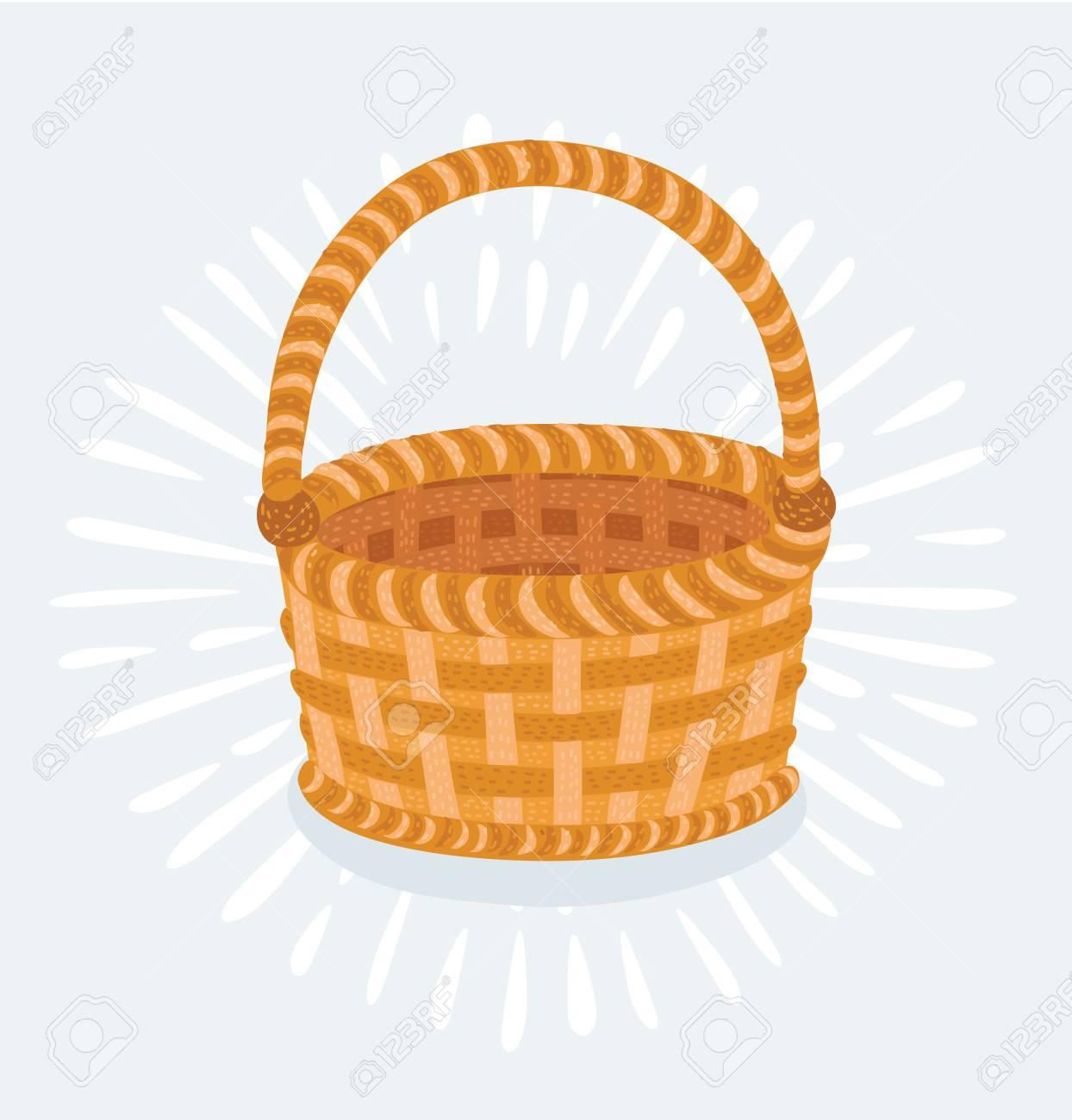 Vector cartoon illustration of Empty wicker basket isolated on...