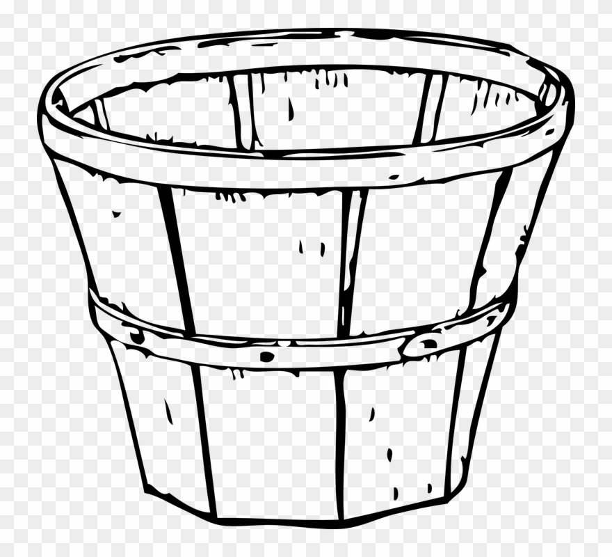 Basket Clipart Empty Harvest Pencil And In Color.