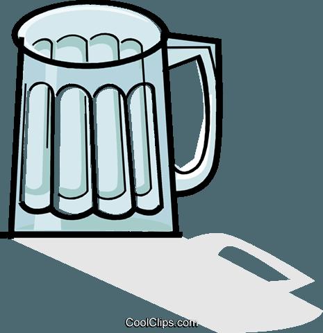 empty beer mug Royalty Free Vector Clip Art illustration.
