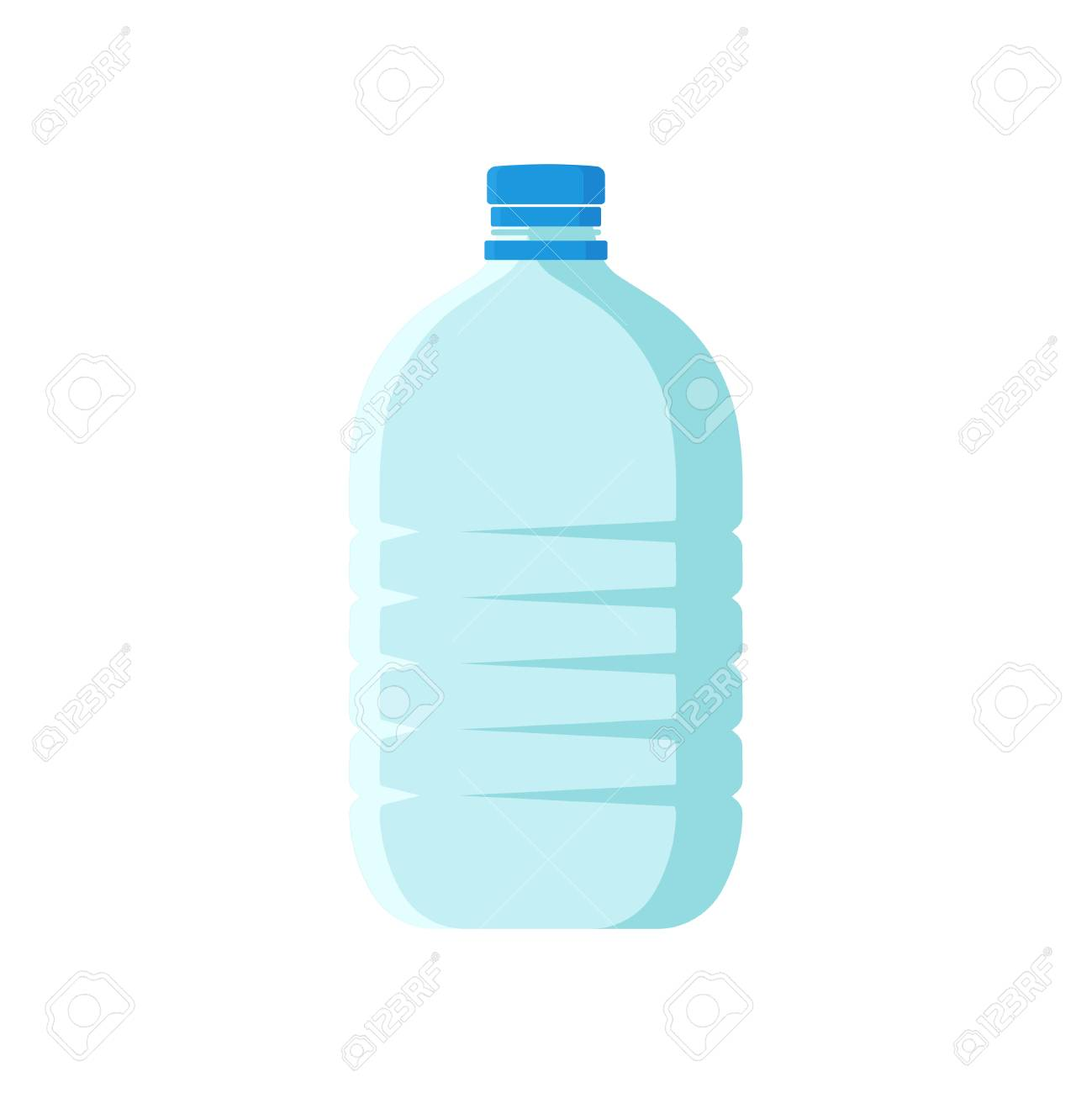 Large plastic bottle with blue lid. Empty transparent container...